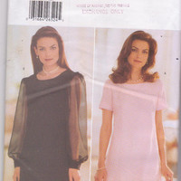 Sewing pattern for fitted, A-line, pullover cocktail dress with long or short sleeves misses size 12 14 16 Butterick 5264 UNCUT