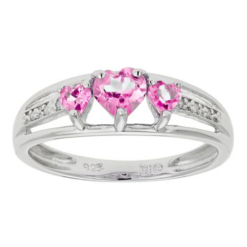 .90 Ct Triple Heart Pink Sapphire and .018 cttw Diamond 10K White Gold Ring