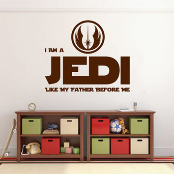 kik2201 Wall Decal Sticker I Am a Jedi Like My Father Before Me Star Wars children's room