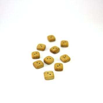 Tiny wooden buttons - Square rowan wood buttons - 0.5x0.5in (12x12mm) - Set of 10 natural wood buttons - Handmade craft supplie (R1001)