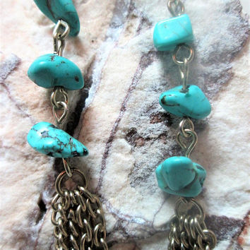 Turquoise Dangle Tassel Wire Earrings Gemstone Southwestern Trend Jewelry Vintage Gift