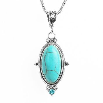 Jewelry Special Oval Shaped Crystal Natural Stone Stone Charming Lucky Pendant Necklace