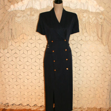 Navy Blue Dress Double Breasted Button Up Short Sleeve Structured Nautical Dress Military Sailor Dress Size 12 Size 14 Large Womens Clothing