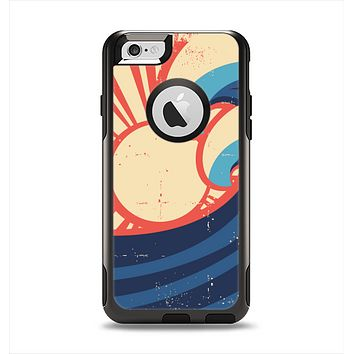 The Retro Vintage Blue vector Waves V3 Apple iPhone 6 Otterbox Commuter Case Skin Set