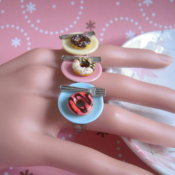 Donut Ring, Miniature Doughnut Ring, Ceramic Plate With Silver Fork, Cute Pastry Food Jewelry, Ring Or Necklace