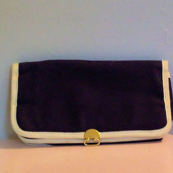 1970 Nautical Blue and white Clutch by cashmerevintage on Etsy