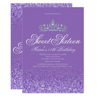 Perfect Purple Glitter, Sweet 16 Invitations