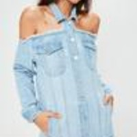 Missguided - Blue Cut Out Cold Shoulder Trucker Denim Jacket