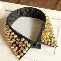 Punk Style Black Big Fake Shirt Collar Necklace With Golden Spikes