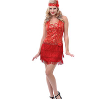 Red & Gold Sequin Fringe Broadway Flapper Costume