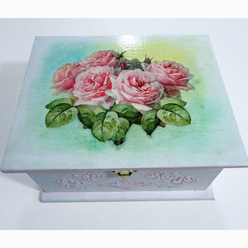 Big Shabby chic Jewelry Box Wedding Card Holder Wish Box Trinket Sewing Box with decoupage