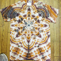 Tie Dye Size Small Earthtone Star Star Short Sleeve Tie Dye Shirt   NEW  unisex  guys  mens  handmade #J6