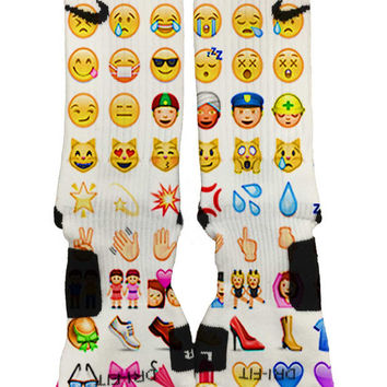 Nike Elite Custom Emoji Socks Fast and Free Shipping!