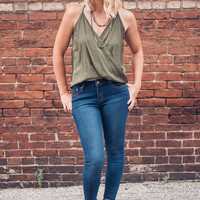 Olive Surplice Eyelet Top