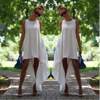 White Round Neck Sleeveless Chiffon Dress