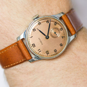 Copper face men's wristwatch Pobeda Victory, mid century dress watch, Soviet classic men''s watch, rare watch mechanical, leather strap new