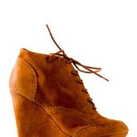 Oil Finish Suede Platform Wedge Boots in Rust, 8.5