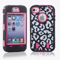 MagicSky Plastic Silicone Armored Hybrid Leopard Pattern Case for Apple iPhone 4 4S 4G - 1 Pack - Retail Packaging - Hot Pink