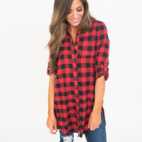 3/4th Sleeve Button Down Plaid Tunic- Red