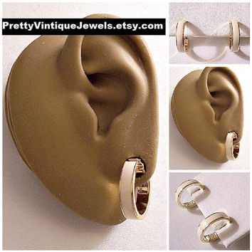 Monet Beige Band Hoop Clip On Earrings Gold Tone Vintage Round Wide Thick Dangles