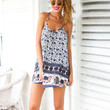 Sleeveless Floral and Animal Print Strappy Mini Dress