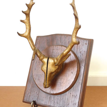 Wood mounted metal deer head