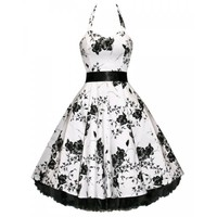 Noble Halter High Waist Floral Print Pleated Ball Gown Dress For Women