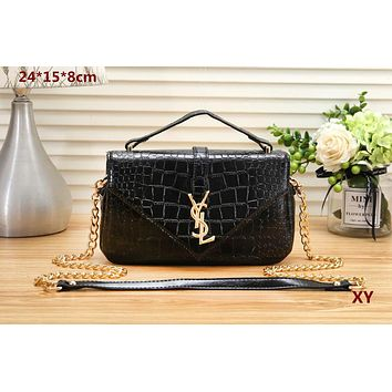 YSL Yves Saint Laurent Women Shopping Crocodile texture pattern Crossbody Shoulder Bag Satchel Black