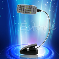 Drop shipping Pro Flexible USB Battery Power 28 LED Light Clip-on Bed Table Desk Reading Lamp
