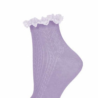 Lilac Lace Trim Ankle Socks - Purple