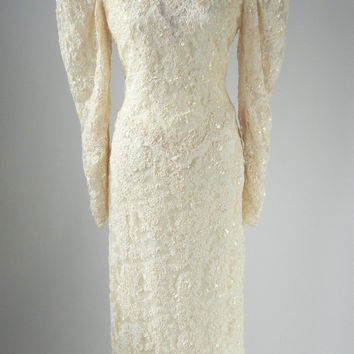 Vintage 1980 Ivory Lace & Beaded Wedding Gown by Blue Bird, Medium