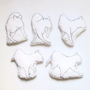 cat pillow set of 5 pillows black and white minimalist home decor hand drawing soft toys