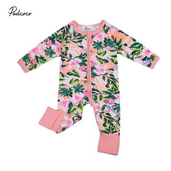 Kids Baby Girls Zipper Floral Clothing Toddler Long Sleeve Romper Jumpsuit Autumn Outfits Clothes