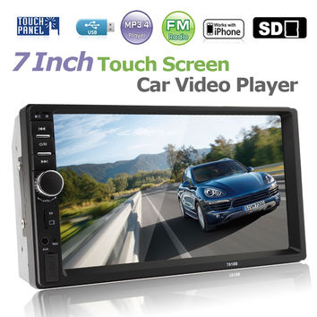 "2 DIN 7"" Bluetooth handsfree Car Radio Stereo Auto MP3 MP5 Player HD In Dash Touch Screen Support Audio Video FM USB SD MMC AUX"