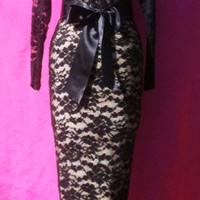 Baylis & Knight Black Nude LACE Long Sleeve Burlesque MAXI Pencil Skirt Low Cut Hobble Dress Dita