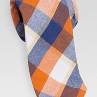 Egara Orange and Navy Plaid Skinny Cotton Tie - Regular Length Ties | Men's Wearhouse