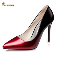 MS Red bottom high heels Fashion pointed toe patent leather women pumps Spring autumn wedding shoes woman high heels Zapatos