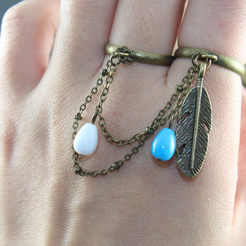 Love Double ring  double ring --feather, blue,white, multi chains, drops, chain, beads