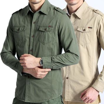 Military Style Shirts For Men Long Sleeve Slim