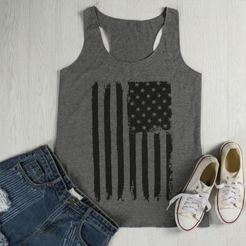 American Flag Printed, Crop Tank Top