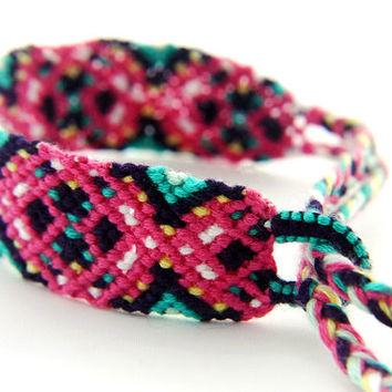 Handwoven Micro Macrame Pink Friendship Bracelet - High Quality Thread for a Great Gift for Best Friends and Teenagers
