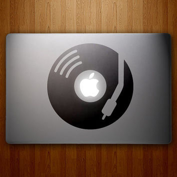 DJ Apple Decal  Turntable Decal Record Player Decal  by DecalLab