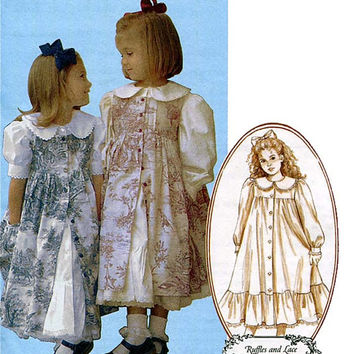 Girls Front Button Pinafores Dresses Holiday Flower Girl Dress-Up Ruffles & Lace Collection McCalls 4648 Size 2-3-4-5 UNCUT Sewing Patterns