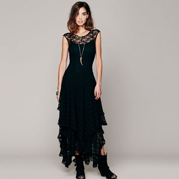 Womens Sheer Lace Double Layered Hollow Out Evening Backless Long Dress Beach Overall