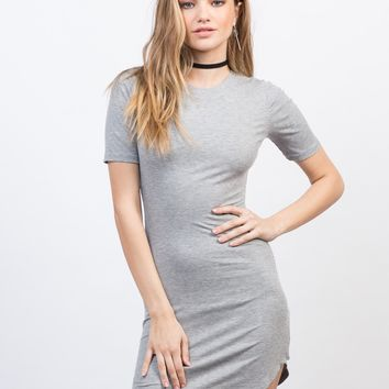 Ribbed Curve Hem T-Shirt Dress