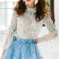 Delicate floral lace embroidered overlaid bell sleeve blouse