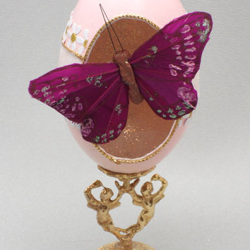 Purple Butterfly Ornament, Valentines Day Ornament, Butterfly Ornament, Egg Ornament, Faberge Style Decorated Goose Egg