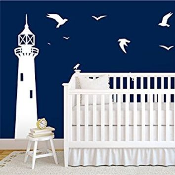Wall Decal Vinyl Sticker Decals Art Decor Design Lighthouse Flock Birds Sail Custom Name Kids Children Funny Nursery Beedroom Gift (r410)