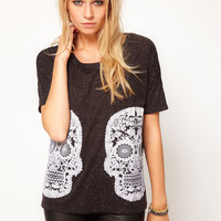 ASOS T-Shirt with Mirror Skulls at asos.com