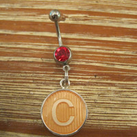 """Belly Button Ring - Body Jewelry -Circle """"C"""" Charm With Red Gem Stone Belly Button Ring"""